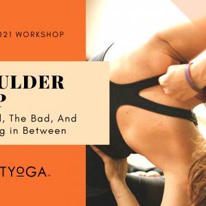 Woman doing yoga shoulder stretching